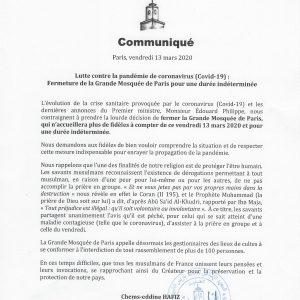 Communiqué GMdP 13.03.2020
