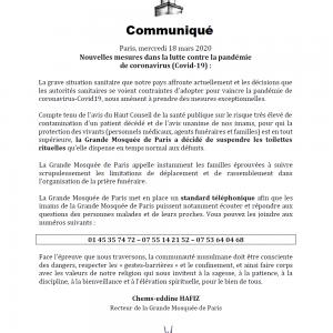 Communiqué GMdP 18.03.2020