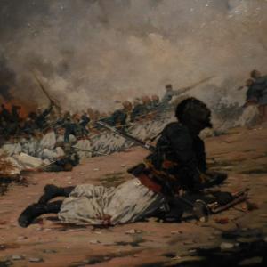 Un clairon de turcos durant la guerre de 1870 (toile de Jules Monge, 1884, Musée de l'Armée).