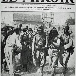 Tirailleurs marocains blessés sur les bords de la Marne (Une du journal Le Miroir, 20 septembre 1914 (crédit : Moreau Albert)