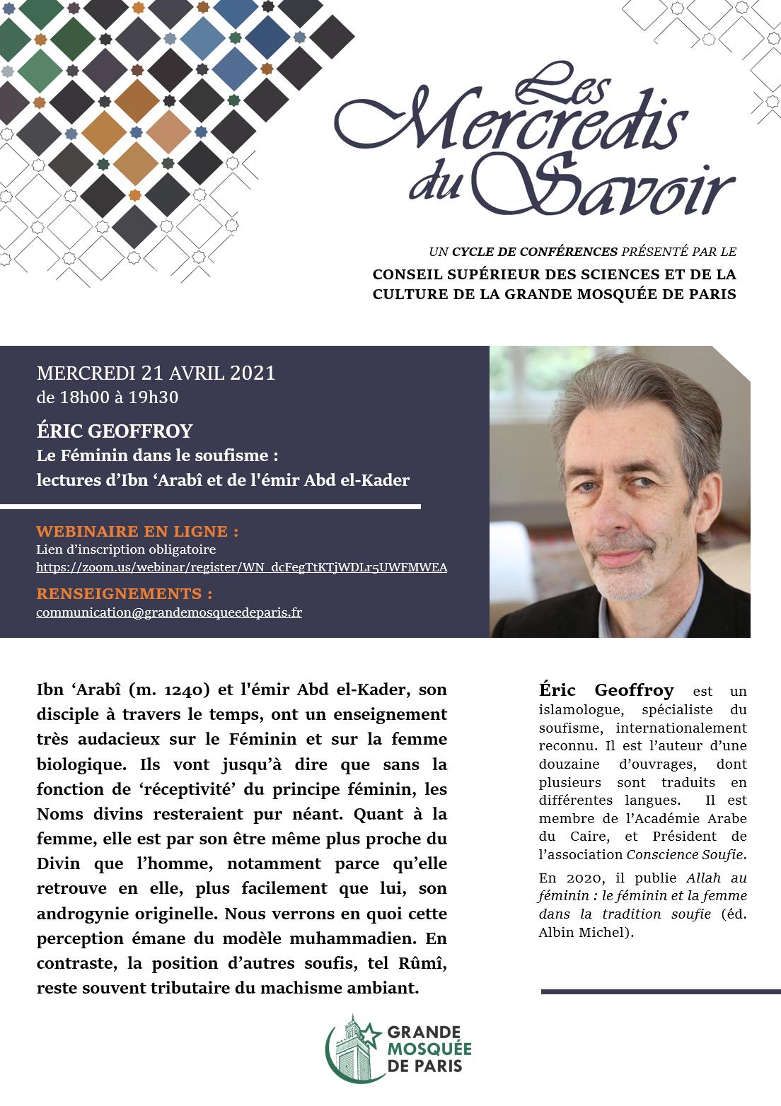 Affiche Les Mercredis du Savoir Eric Geoffroy