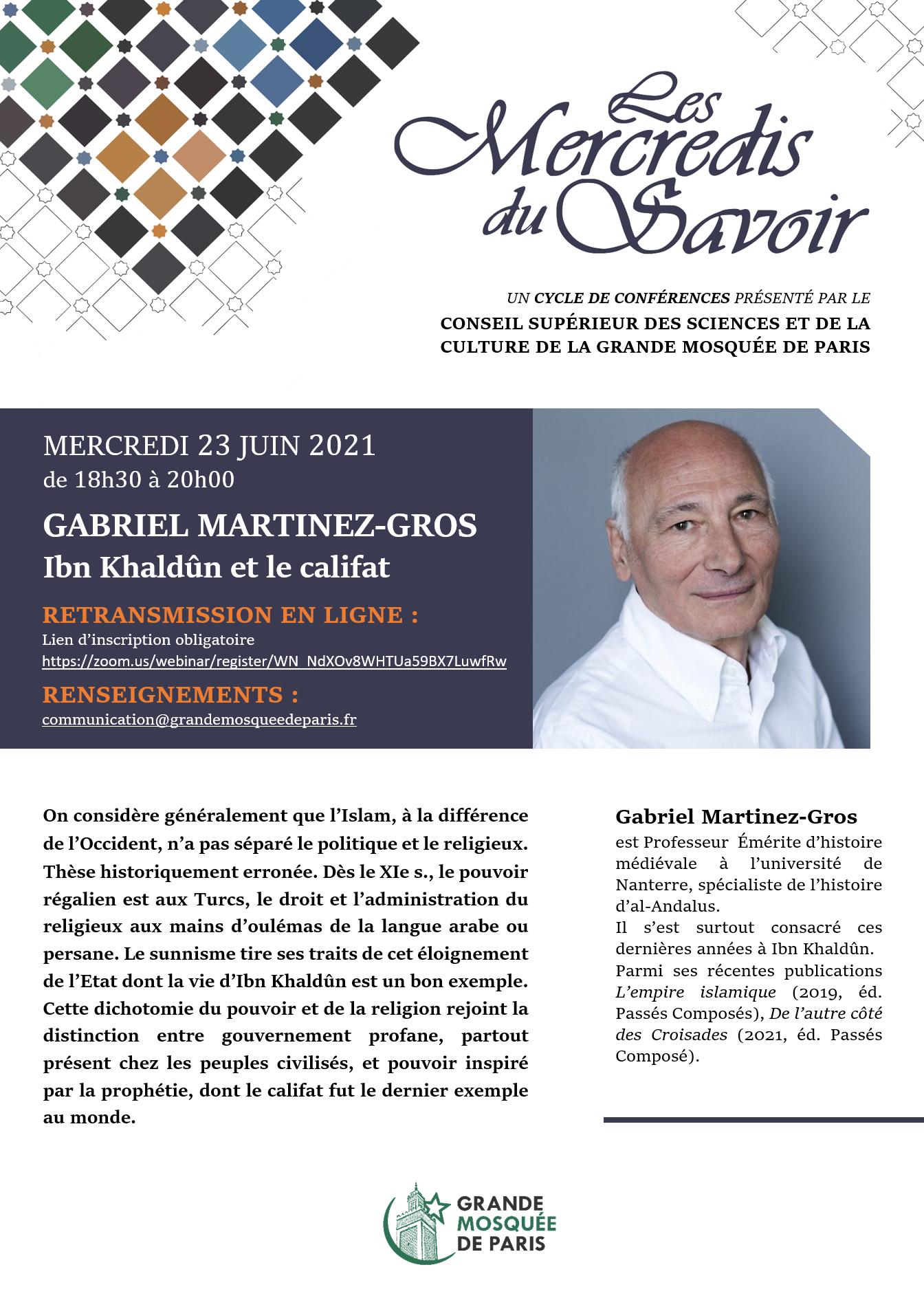 Mercredi du Savoir - Pr Martinez-Gros - 23 juin 2021